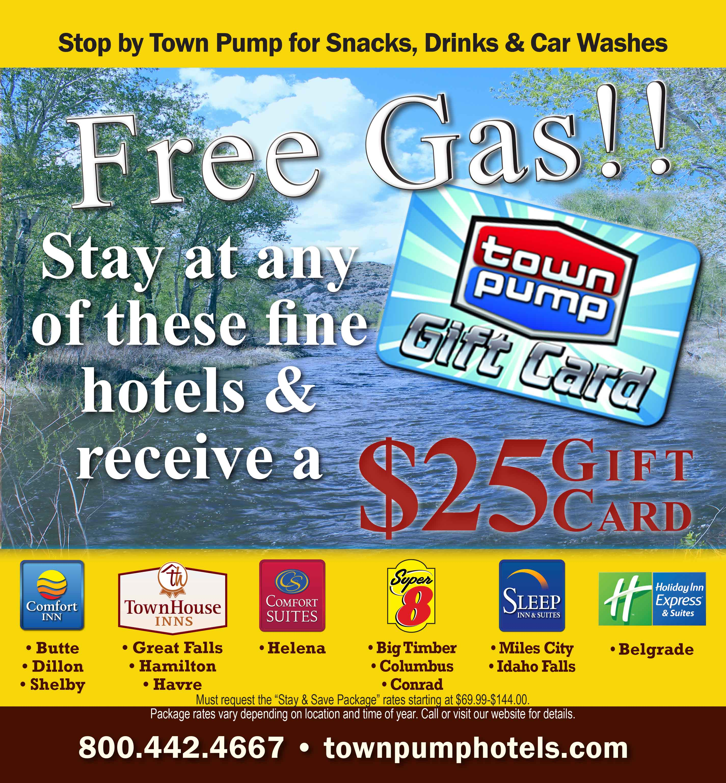 Get a Town Pump Gift Card when you book a Stay & Save